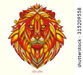 lion red fire ornament ethnic... | Shutterstock .eps vector #315209558