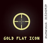 crosshair. gold flat icon....