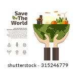 hands holding earth with... | Shutterstock .eps vector #315246779