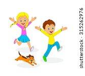 children boy  girl and dog... | Shutterstock .eps vector #315262976