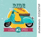 hipster scooter print | Shutterstock .eps vector #315265769