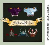 vector halloween set in retro... | Shutterstock .eps vector #315268358