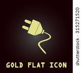 electrical plug. gold flat icon....