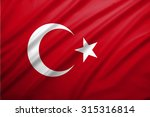 Turkish Flag Blowing In The...