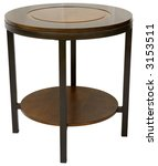 Round Wood and Metal Contemporary End Table - stock photo