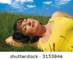 girl lying in a meadow enjoying ...   Shutterstock . vector #3153846