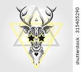 deer head tribal pattern.... | Shutterstock .eps vector #315405290