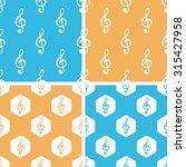 treble clef pattern set  simple ...