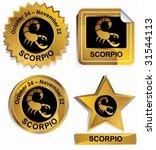 scorpio zodiac set   gold satin ... | Shutterstock .eps vector #31544113