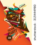 abstract techno party poster... | Shutterstock .eps vector #315444980