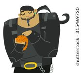 cartoon huge biker with cute...