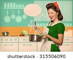 young housewife cooking soup in ... | Shutterstock . vector #315506090