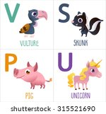 cute cartoon animals alphabet... | Shutterstock .eps vector #315521690