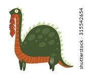 cartoon dinosaur eating leaves...   Shutterstock .eps vector #315542654