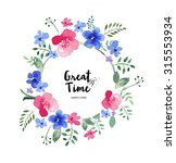 watercolor greeting card flowers | Shutterstock . vector #315553934