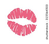 kiss lips lipstick red trail.... | Shutterstock . vector #315564503