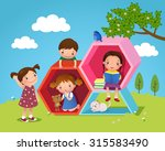 illustration of kids playing... | Shutterstock .eps vector #315583490