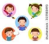 illustration set of kids mascot ... | Shutterstock .eps vector #315583493