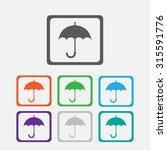 umbrella icon. eps 10. square...