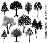 hand drawn trees silhouette | Shutterstock .eps vector #315593744