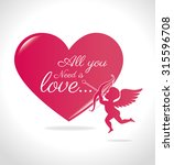 love card with hearts and pink... | Shutterstock .eps vector #315596708