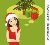 thinking woman in santa hat... | Shutterstock .eps vector #315596900