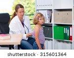 female pediatrician in white... | Shutterstock . vector #315601364