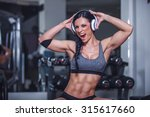 funny fit girl enjoy in... | Shutterstock . vector #315617660