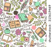 diary hand drawn seamless... | Shutterstock . vector #315619469