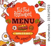 fast food restaurant colored... | Shutterstock . vector #315619523