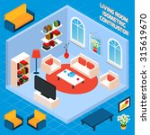 isometric living room interior... | Shutterstock . vector #315619670