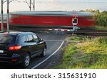 speeding motion blur red train... | Shutterstock . vector #315631910
