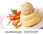 Gourmet desserts on a plate isolated - stock photo
