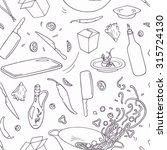 set of outline hand drawn wok... | Shutterstock .eps vector #315724130
