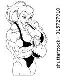 muscular girl workout with big... | Shutterstock . vector #315727910