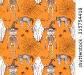 sketch halloween seamless...   Shutterstock .eps vector #315754418
