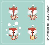 set of cute christmas fox.... | Shutterstock .eps vector #315790004