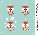set of cute christmas fox.... | Shutterstock .eps vector #315790004