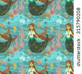 mermaid pattern. the vector...
