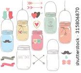 vintage wedding mason jar | Shutterstock .eps vector #315806870