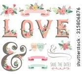 retro floral invitation design...   Shutterstock .eps vector #315806876