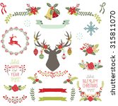 vintage christmas elements | Shutterstock .eps vector #315811070