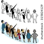 crowd of people pointing   Shutterstock .eps vector #315824129