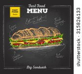 vintage chalk drawing fast food ... | Shutterstock .eps vector #315826133
