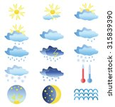 set of bright weather icons... | Shutterstock .eps vector #315839390