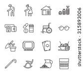 retirement  old people icon set | Shutterstock .eps vector #315893006