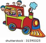 cartoon train ride   kids wave... | Shutterstock .eps vector #31590325