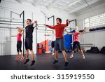 group of people doing jumping... | Shutterstock . vector #315919550
