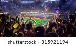 fans on stadium game panorama... | Shutterstock . vector #315921194