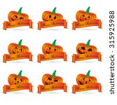 orange halloween carved... | Shutterstock .eps vector #315925988